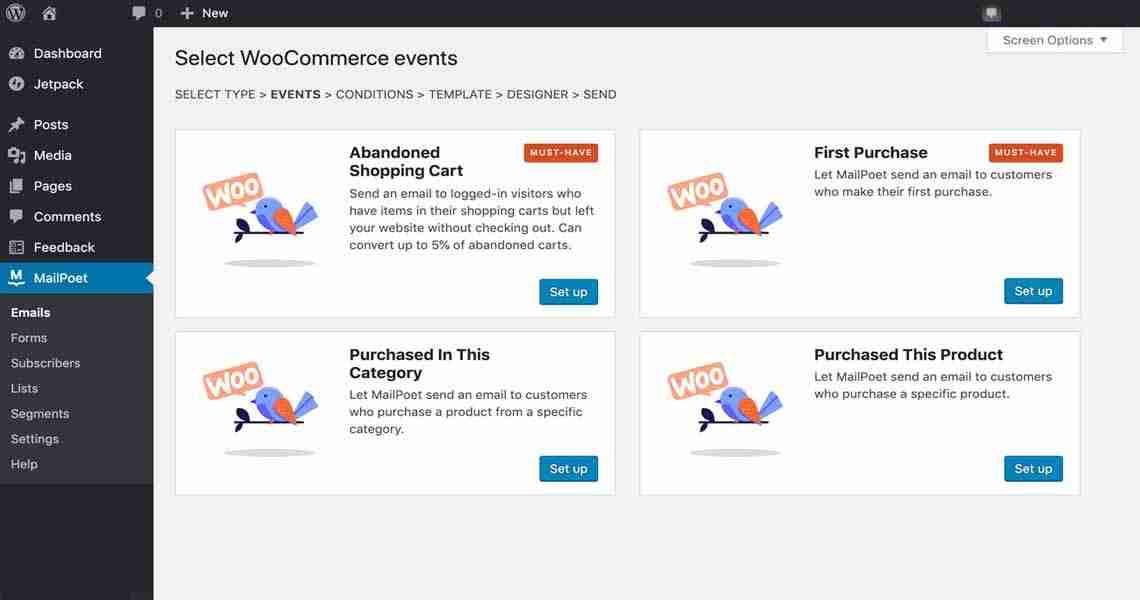 Manage WooCommerce events.