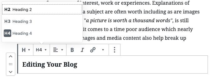 Set HTML tag heading.
