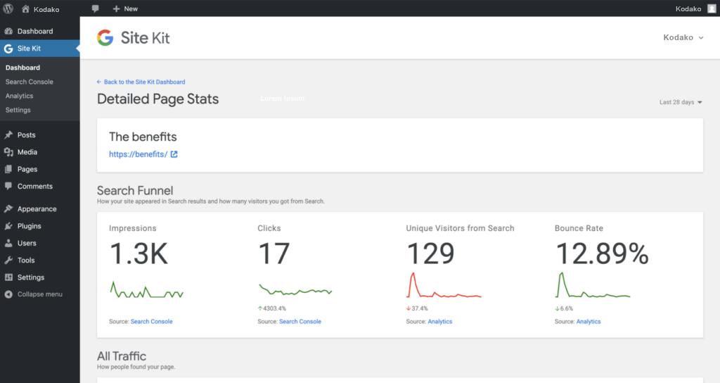 Google Site Kit Page Analytics