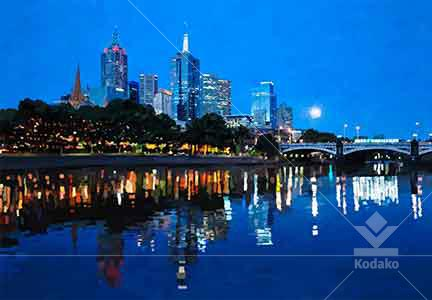 Melbourne Moon Digital Cityscape Painting