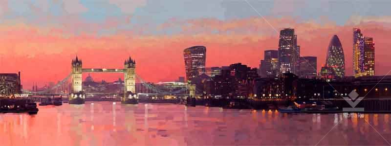 Thames River London Digital Cityscape Painting