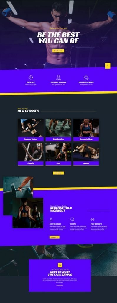 Website Design Page Example Fitness