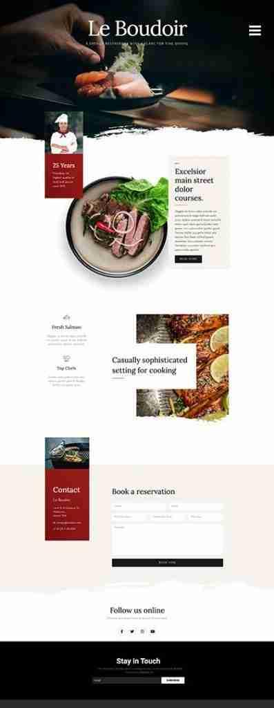 Website Design Page Example Restaurant