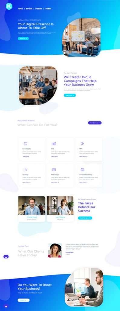 Website Design Page Example Services